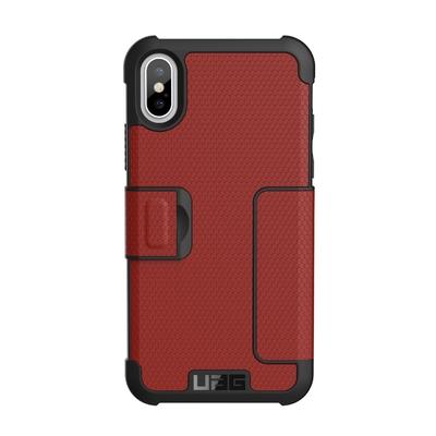 Etui Folio avec cover ecran iPHONE X Metropolys Rouge Magma