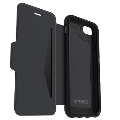 Folio Cuir veritable et Coque Silicone iPHONE 8 et iPHONE 7 4.7 pouces Strada Noir