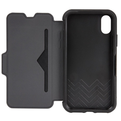 Etui Cuir veritable iPHONE X Folio Strada avec Cover ecran Noir