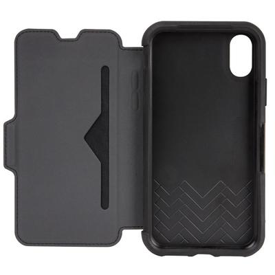 Etui Cuir veritable iPHONE X Folio Strada avec Cover ecran Noir