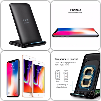 Charge a Induction sans fil Station Quickcharge iPHONE X iPHONE 8 Plus iPHONE 8 Noir