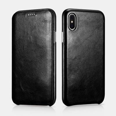 Etui cuir veritable et verre de protection ecran iPHONE X Venezia Noir