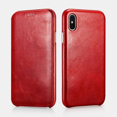 iPHONE X Etui cuir Pleine fleur et verre de protection ecran Venezia Rouge