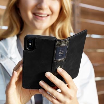 girl bookbook iphone X noir