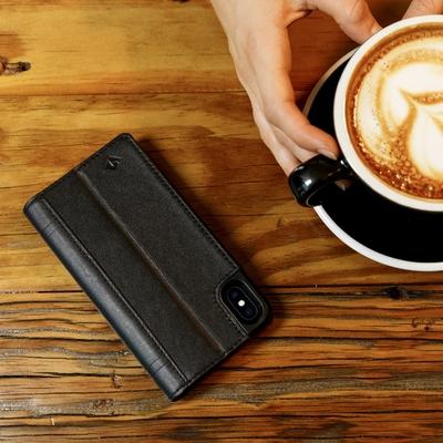 Etui cuir Journal Noir iPHONE X 5.8 pouces