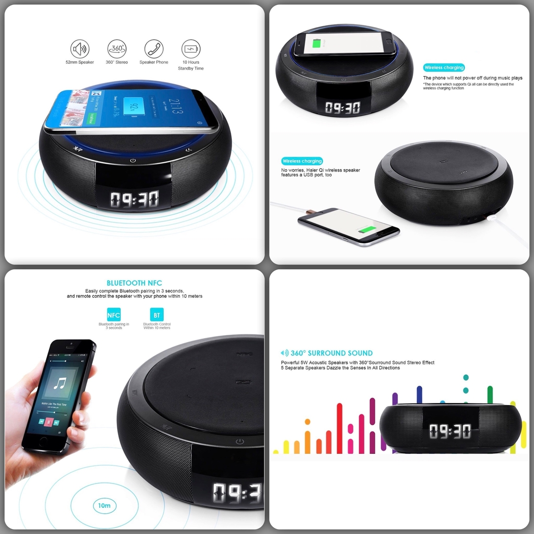 iphone x et iphone 8 chargeur induction enceinte bluetooth et radio reveil smart apple charge. Black Bedroom Furniture Sets. Home Design Ideas