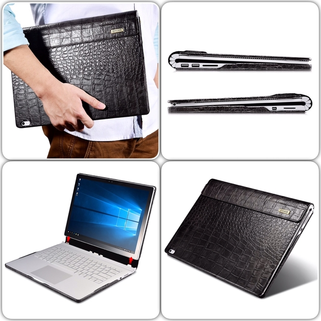 mix Folio Cuir Microsoft Surface BOOK Aspect Croco Noir