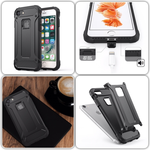 mixage coque rugged iphone 7 noir