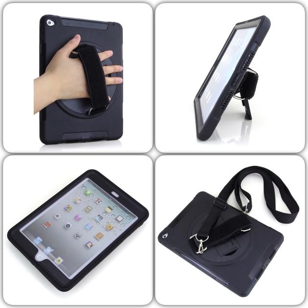 mix iPad Mini 4 Coque et harnais main Sangle epaule Rotating