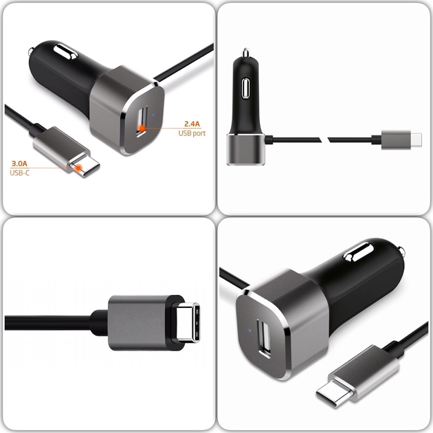 mix Chargeur allume cigare vers USB-C et USB 2.0 Power