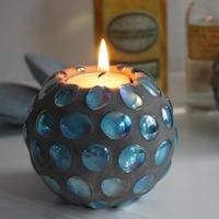 Bougeoir Bleu-Gris pour bougie chauffe-plat