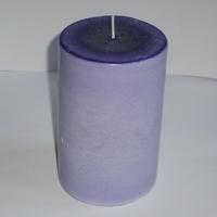 Bougie violette ronde pilier en cire de soja