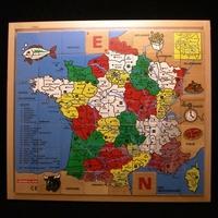 Puzzle bois carte de France et alphabet au verso