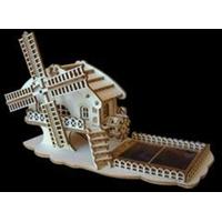 Maquette en bois à construire Moulin Roue à Aube solaire