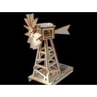 Maquette EOLIENNE DES CHAMPS solaire en bois