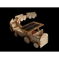 Maquette TRAIN solaire (locomotive + 5 wagons) en bois.