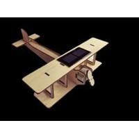 Maquette AVION BIPLAN solaire en bois