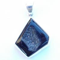 Pendentif Argent agathe noire géode