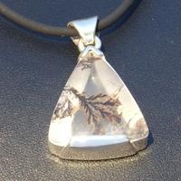 Pendentif en Argent massif avec pierre quartz dentrite