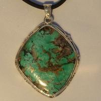 Pendentif Argent Turquoise Népalaise