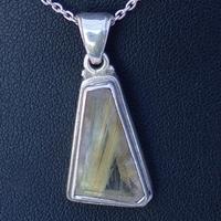 Pendentif Argent Quartz rutilé forme trapèze
