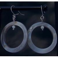 Boucles d'oreilles argent grand donuts nacre grise