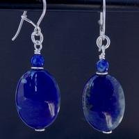 Boucles d'Oreilles Lapis Lazuli monture argent massif