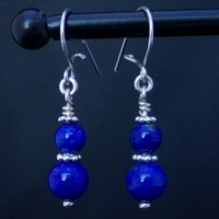 Boucles d'oreilles boules de Lapis Lazuli monture argent massif