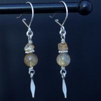 Boucles d'oreilles boules de quartz rutilé monture argent massif
