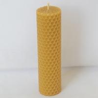 LOT de 5 BOUGIES PETITS PILIERS cire d'abeille gaufrée