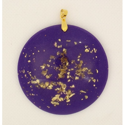 Orgonite-Pendentif-rond-violet