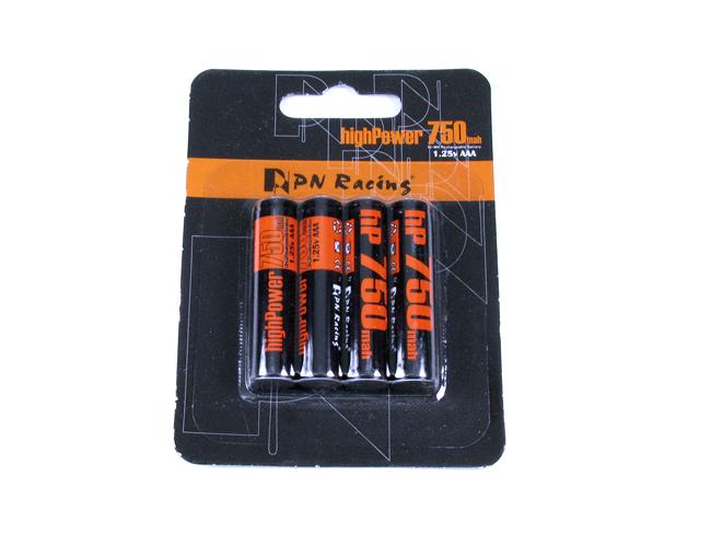 PN RACING Eléments AAA miniz NiMh 750 mah - 4 accus, HP750