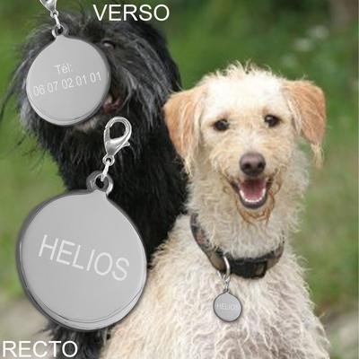 Medaille ronde graver animal chien