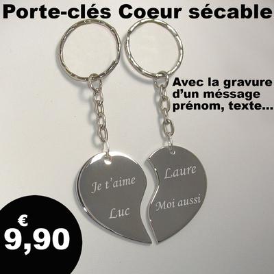 Porte clés coeur sécable personnalisé