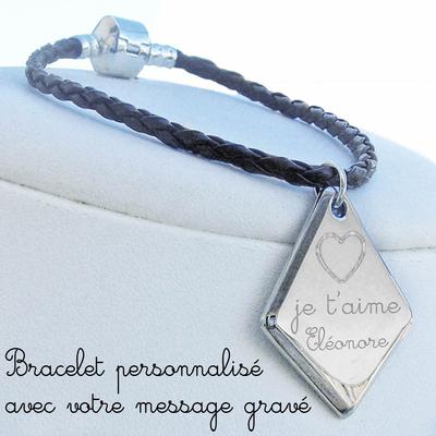 Bracelet gravé losange