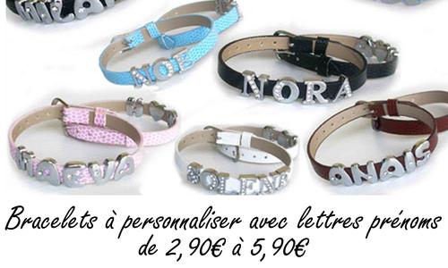 bracelet personnalisé lettre prénom 2,90€