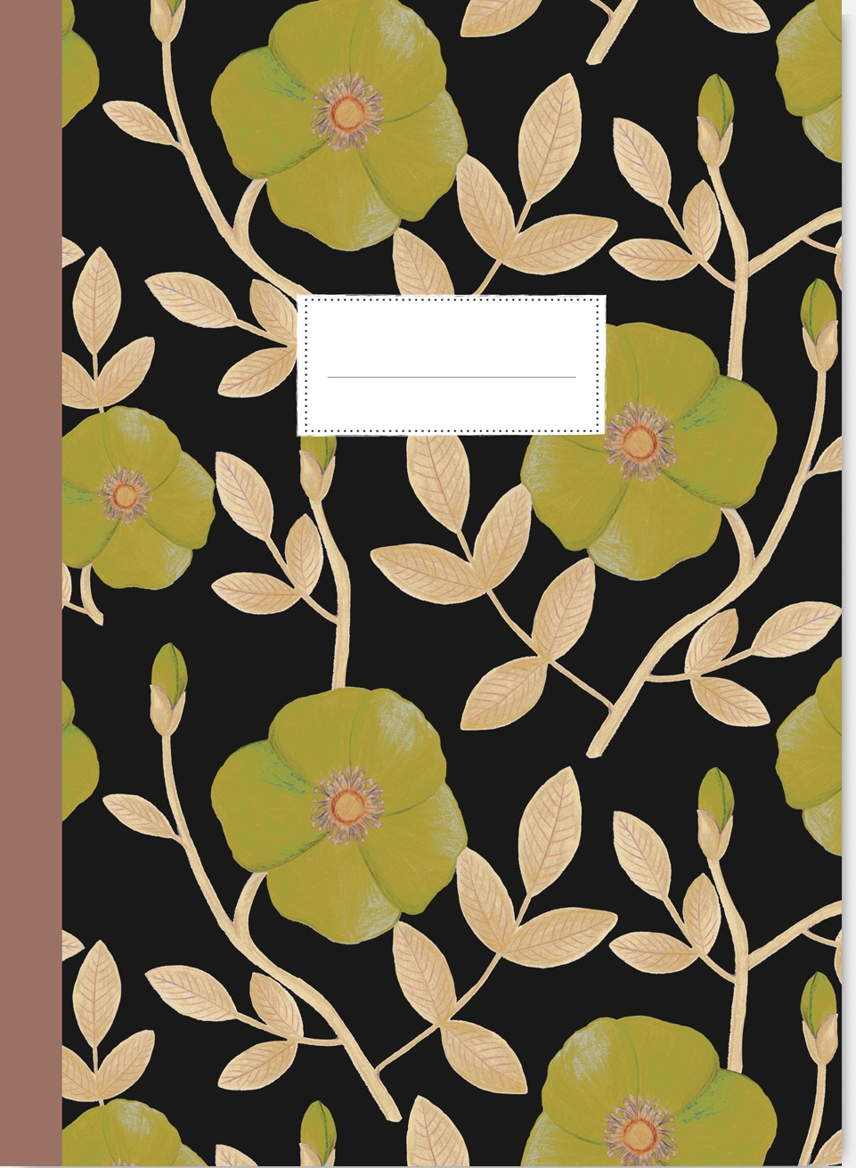 CAHIER FORMAT A5 MOTIF COQUELICOTS VERTS