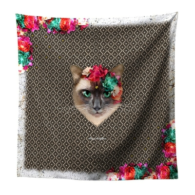 FOULARD CARRE SATIN CHAT OLGA