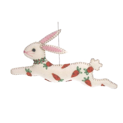 DECORATION SUSPENDUE LAPIN FEUTRINE BRODE