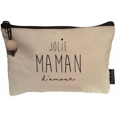 POCHETTE JOLIE MAMAN D'AMOUR EN COTON ECRU ET SA PERLE DE BOIS