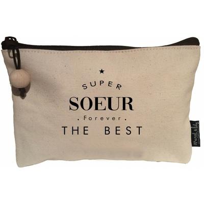 POCHETTE SUPER SOEUR FOR EVER THE BEST EN COTON ECRU ET SA PERLE DE BOIS