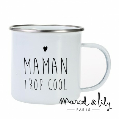 TASSE EMAILLEE MAMAN TROP COOL