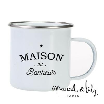 TASSE EMAILLE LA MAISON DU BONHEUR