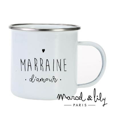 TASSE EMAILLEE MARRAINE D'AMOUR