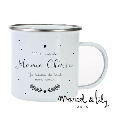 TASSE EMAILLEE MA PETIT MAMIE CHERIE