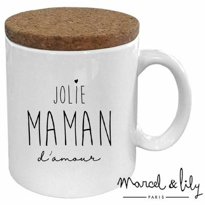 MUG JOLIE MAMAN D'AMOUR AVEC SON COUVERCLE EN LIEGE