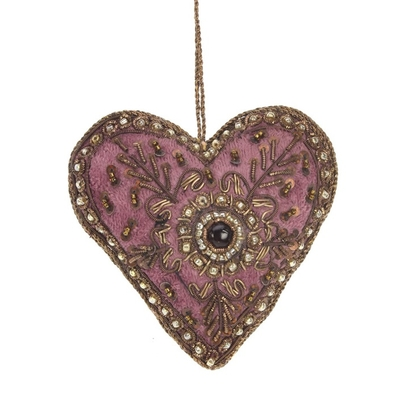 DECORATION SUSPENDUE COEUR BRODE VELOURS BORDEAUX