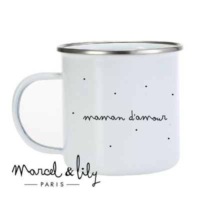 TASSE EMAILLEE LOVELY FAMILY MAMAN D'AMOUR