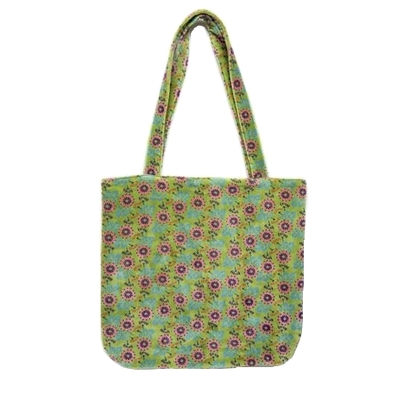 SAC TOTE BAG VELOURS DOUBLE MOTIF OAK LIME
