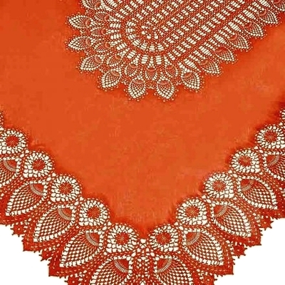 NAPPE DENTELLE VINYLE ORANGE BRIQUE 150X264CMS
